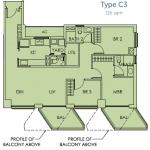 Sky Habitat Floor Plan :: Example 3 Bedroom Unit